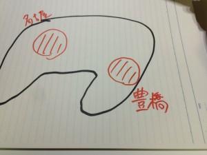 愛知県豊橋市と名古屋市の位置