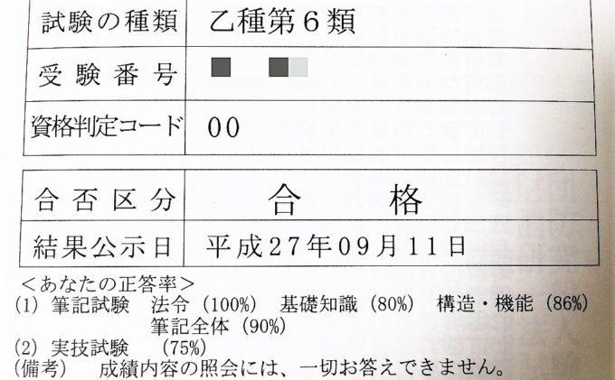 消防設備士乙種第6類試験の合格通知書
